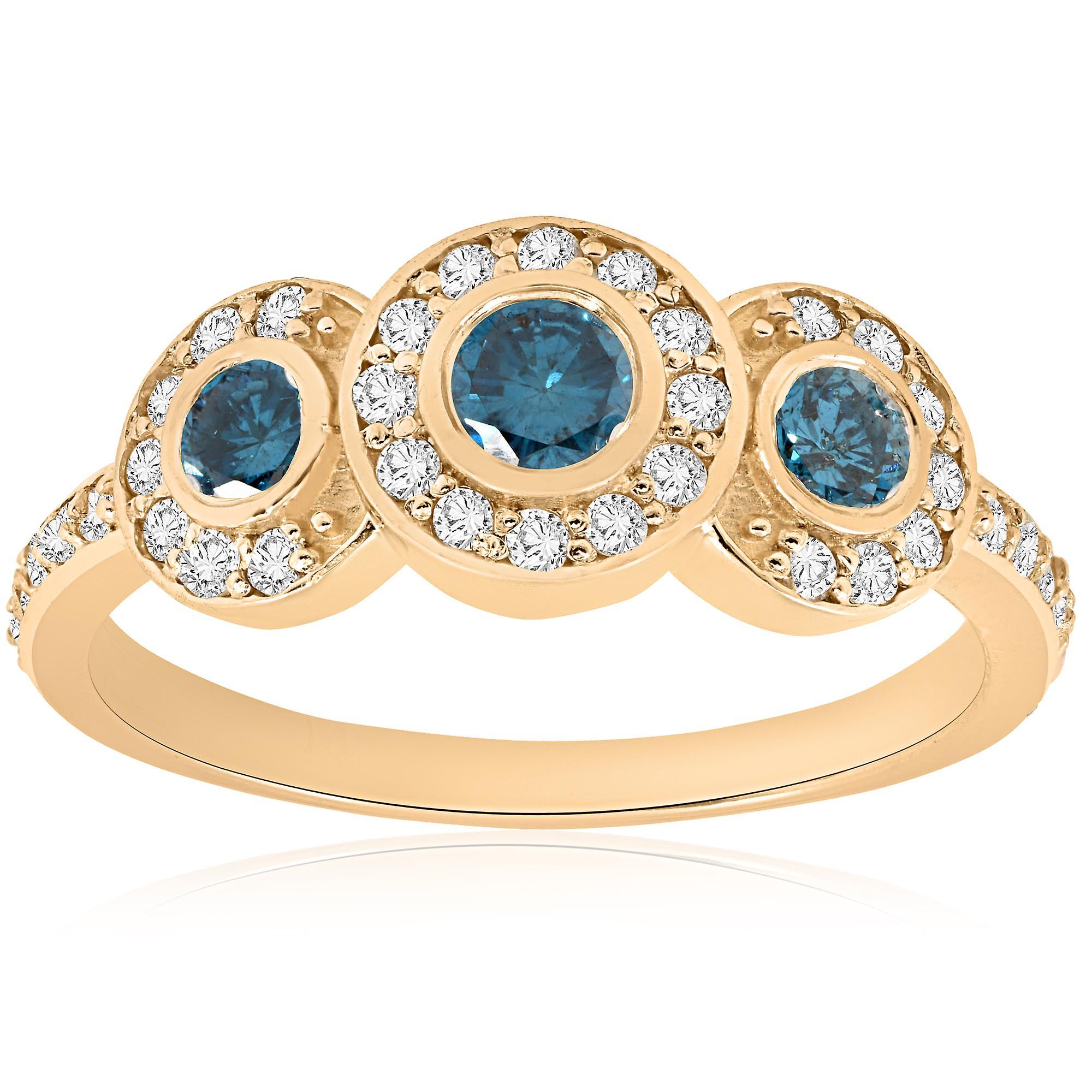 3 4ct Three Stone bleu Diamond 14K jaune or