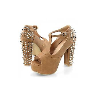 The Fashion Bible Marlon Spiked Studded Shoes In Camel