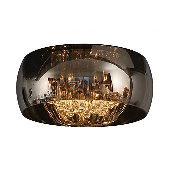 Lucide Large Modern Smoked Glass Circular Suspended Light With Crystals