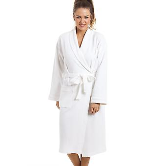 Camille Luxury White 100% Cotton Waffle Bathrobe