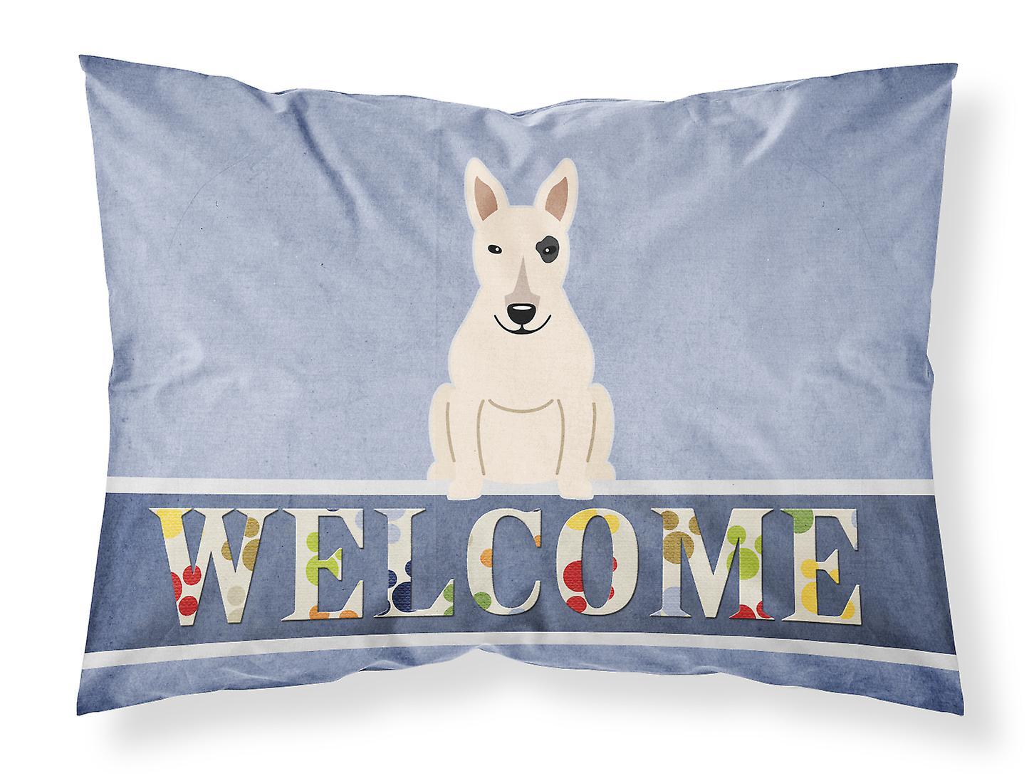Taie Blanc D'oreiller Pour Terrier Standard Bull Tissu Bienvenue 8mnN0w