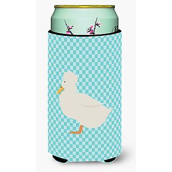 Crested Duck Blue Check Tall Boy Beverage Insulator Hugger