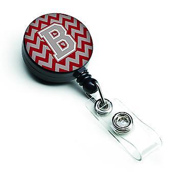 Letter B Chevron Crimson and Grey   Retractable Badge Reel