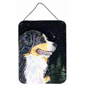 Starry Night Bernese Mountain Dog Aluminium Metal Wall or Door Hanging Prints