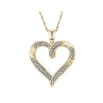 Diamond Heart Pendant Necklace 1/10 Carat (ctw) in 10K Yellow Gold
