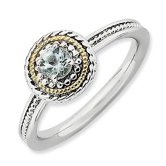 2.25mm Sterling Silver Polished Prong set Rhodium-plated and 14k Stackable Expressions Sterling Silver Aquamarine Ring -