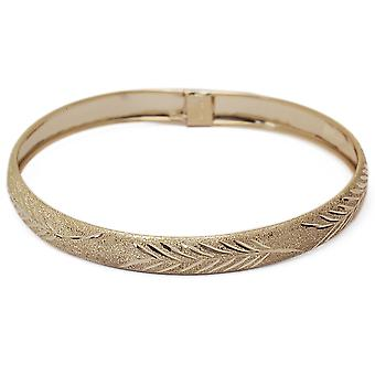 "10k Yellow Gold bangle bracelet Flexible Round with Diamond Cut Design (0.3"")"