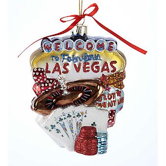 Velkommen til Las Vegas Nevada bylandskab glas jul ferie Ornament