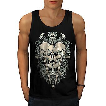 Deadly Knife Crow Skull Men BlackTank Top | Wellcoda