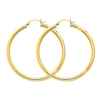 14k Yellow Gold Polished Hollow Tube Round Hoop Earrings - 45mm