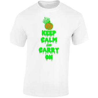 Keep Calm And Carry On Halloween Fancy Dress Glow In Mens T-Shirt 10 Colours (S-3XL) by swagwear