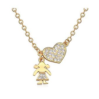 Ladies Gold Heart Pendant Necklace Girl and Heart Pendant