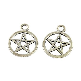 Packet 20 x Antique Silver Tibetan 25mm Pentagram Pentacle Charm/Pendant Y08945
