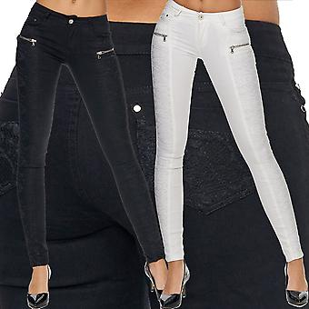 Women's Slim Jeans Trousers Skinny Tube Jeans Stretch Hipster Tube Zip Top Sexy