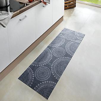 Washable kitchen runner Flower dots Grau 50 x 150 cm. 102452