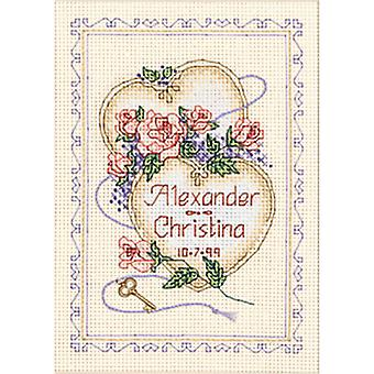 United Hearts Wedding Record Mini Counted Cross Stitch Kit-5
