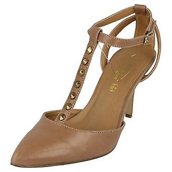 Damer plats på mitten av hälen T Bar spetsig tå sko med ankel rem
