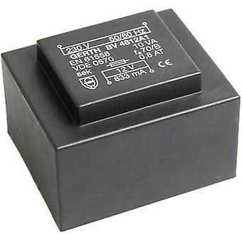 PCB mount transformer 1 x 230 V 1 x 8 V AC 10 VA 1250 mA PT480801 Gerth
