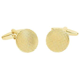 David Van Hagen Shiny Circle Textured Design Cufflinks - Gold/Silver