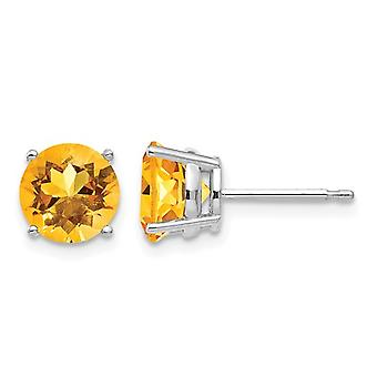 Natural Citrine 2.50 Carat (ctw) Solitaire Post Earrings in 14K White Gold