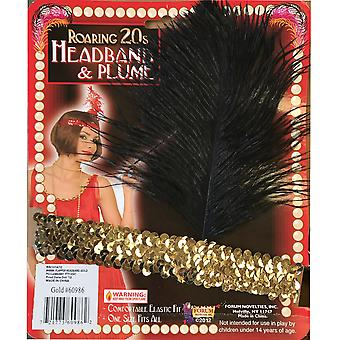 Roaring 20s Flapper Gatsby 1920s 1930s Womens Costume Gold Headband