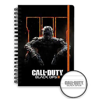 Call of Duty Black OPS 3 notebook DIN A5 cover hardcover with spiral binding, lined with rubber band.