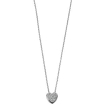 Elements Silver Cosmic Cubic Zirconia Pave Heart Pendant - Silver