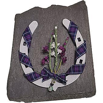 Ærteblomst design grå hest sko skotsk souvenir på skifer