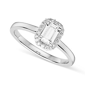 14K White Gold Moissanite by Charles & Colvard 6x4mm Emerald Halo Ring, 0.68cttw DEW