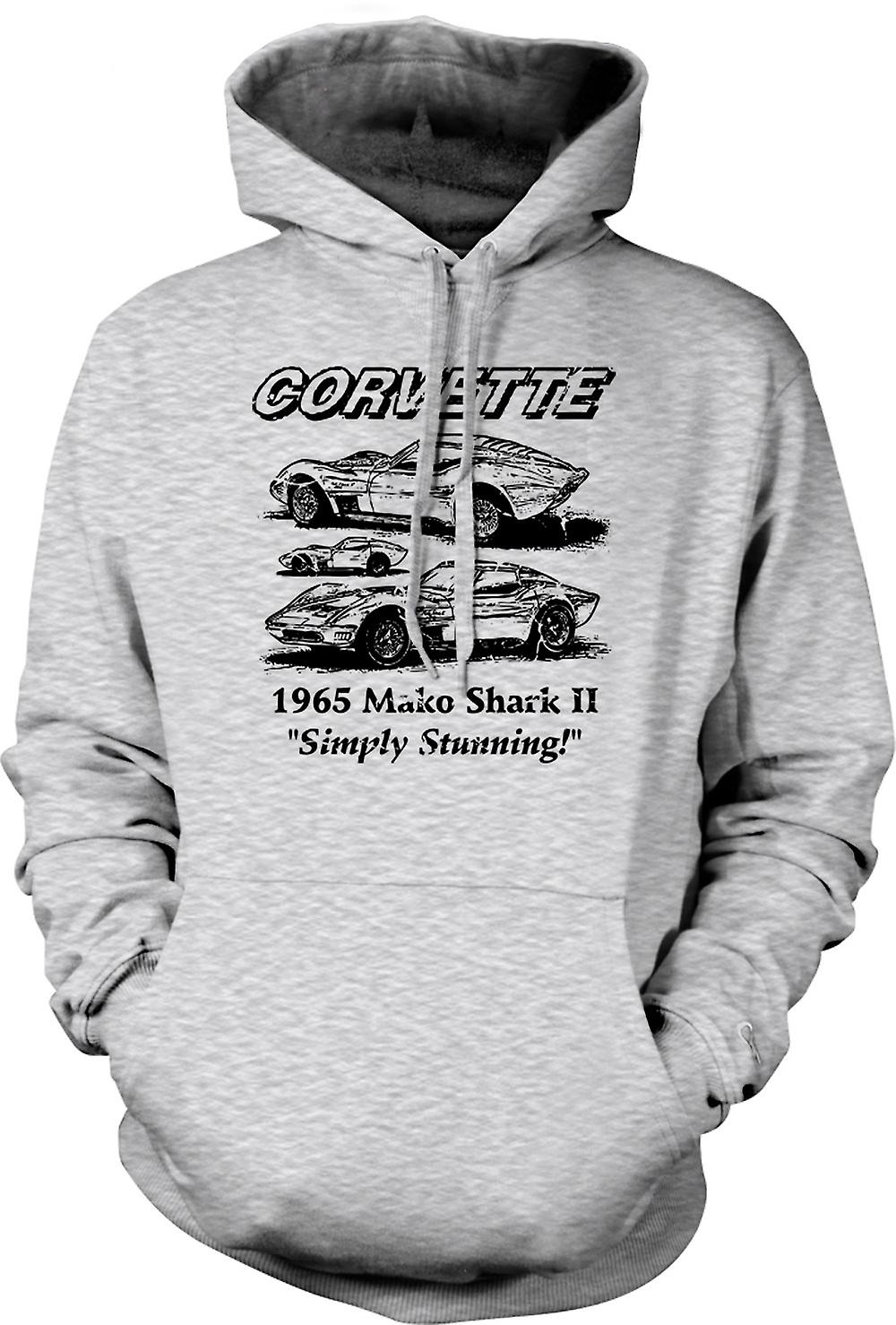 Mens Hoodie - Corvette Mako Shark II - Classic Car