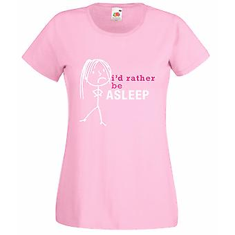 Ladies I'd Rather Be Asleep Baby Pink Tshirt