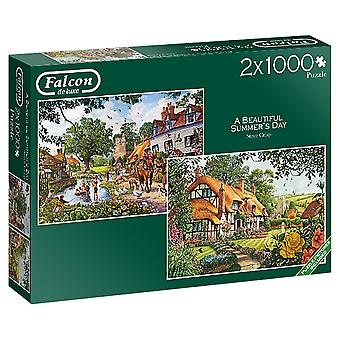 Falcon Deluxe A Beautiful Summer's Day Jigsaw Puzzles (2 x 1000 pieces)