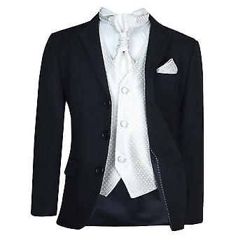 Boys New 5 Piece Black & Ivory Wedding Cravat Suit