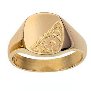 9ct Gold 14x12mm gents engraved TV shaped Signet Ring Size W
