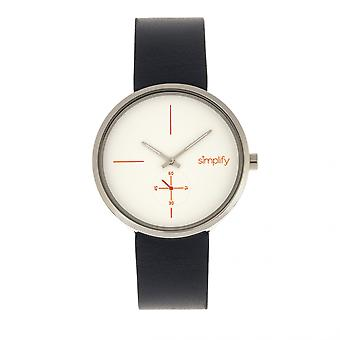 Simplify The 4400 Leather-Band Watch - Navy/Silver