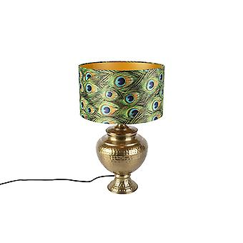QAZQA lampe de Table Vintage avec velours Peacock Shade - Hazard A