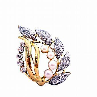 Stijlvolle decoratieve gouden broche met Glitered blad parels kubieke Zircon