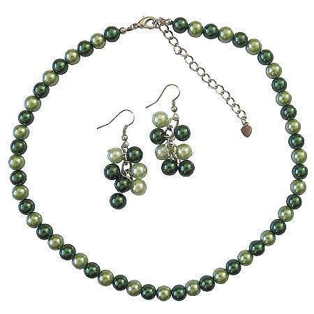 Bridal Bridesmaid Green Pearls Lite & Dark Green Pearls Necklace Set