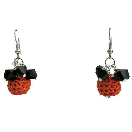 Halloween Jewelry Orange Crochet Bead w/ Black Glass Bead Earrings