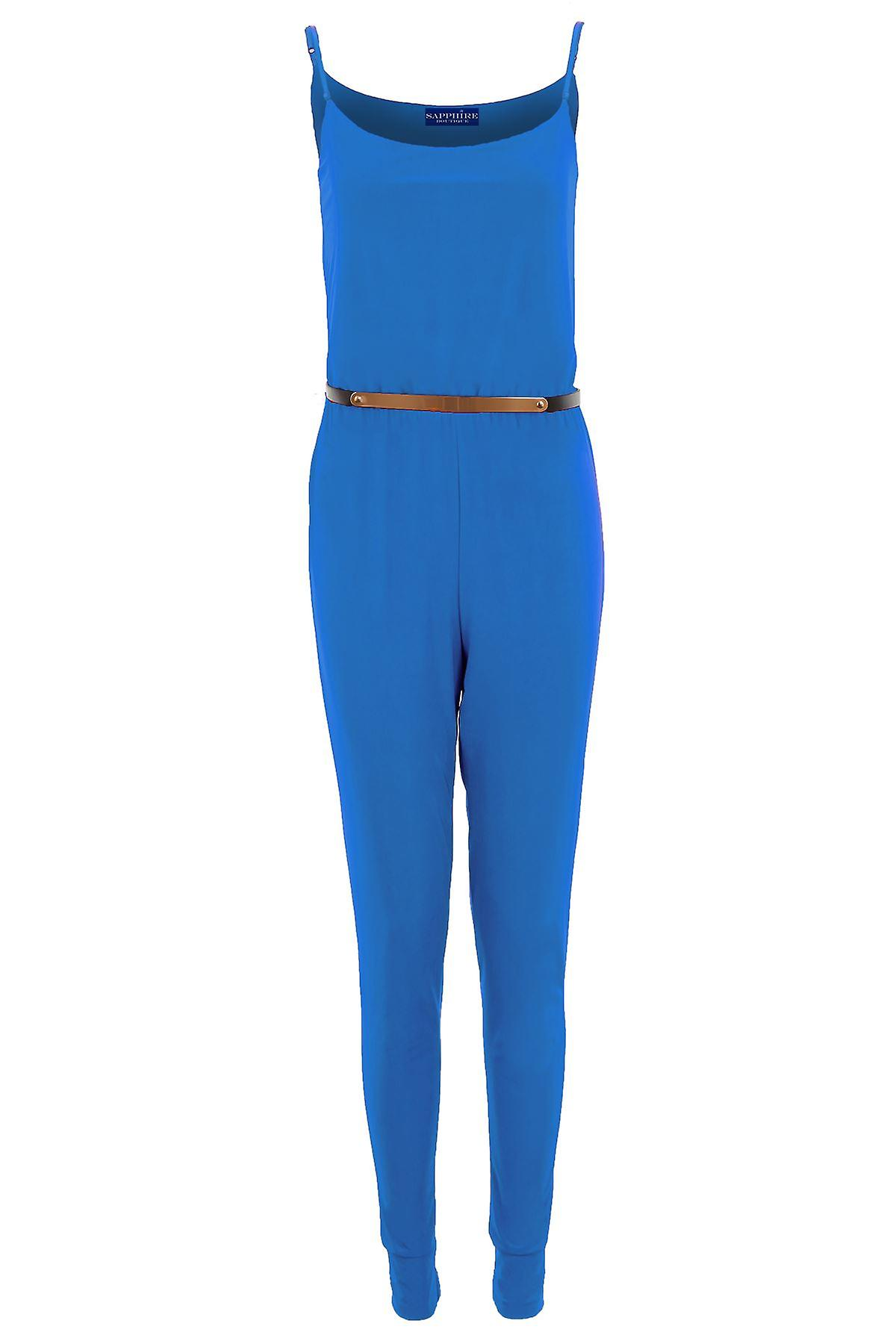 Ladies Gold Belted All In One Celebrity Style Trouser Strap Playsuit Women's Jumpsuit