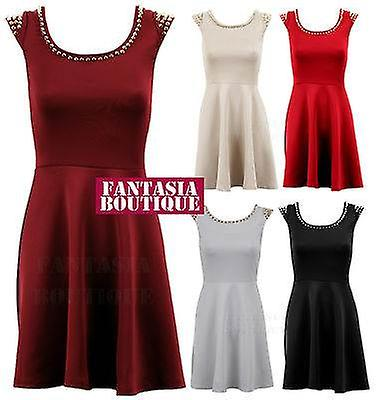 Ladies Spike Gold Silver Studded Neck Cap Sleeves Skater Womens Party Dress