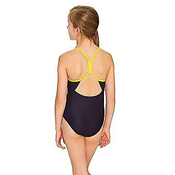Zoggs Girls' Batman Sprintback Swimsuit in Black / Yellow with Slim Straps - Chlorine Proof
