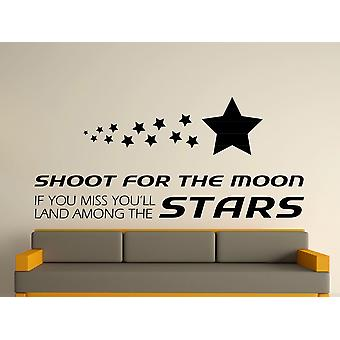 Shoot For The Moon Wall Art Sticker - Black