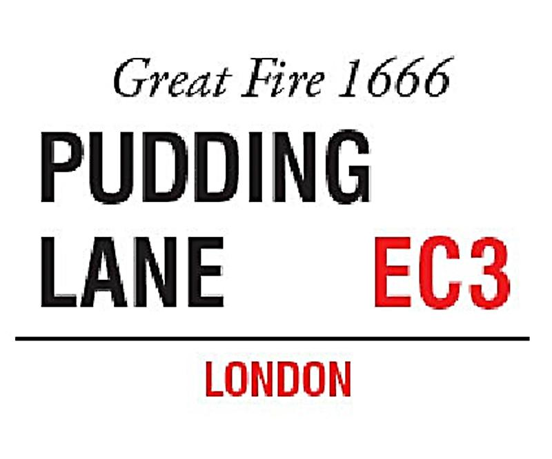 Pudding Lane, London small metal sign   (og 2015)