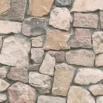 Efecto de ladrillo de papel pintado piedra pizarra rústico resistido relieve Beige gris