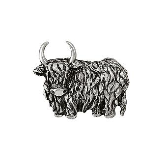 Eternal Collection Highland Cow Silver Tone Brooch