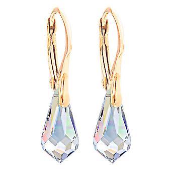 Damer 11 x 5,5 mm Aurore Boreale droppe hängande örhängen med kristaller från Swaovski