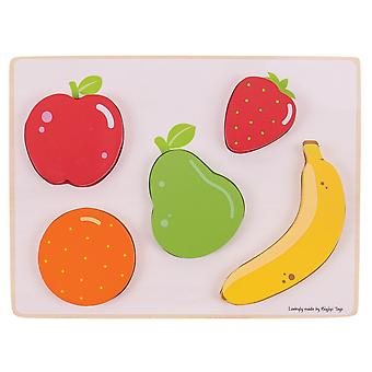 Bigjigs Toys Wooden Educational Chunky Lift and See Jigsaw Puzzle (Fruit)