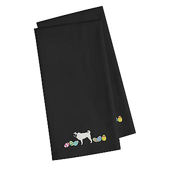 Pug Easter Black Embroidered Kitchen Towel Set of 2