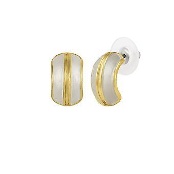 Eternal Collection Elite White Enamel Gold Tone Stud Pierced Earrings